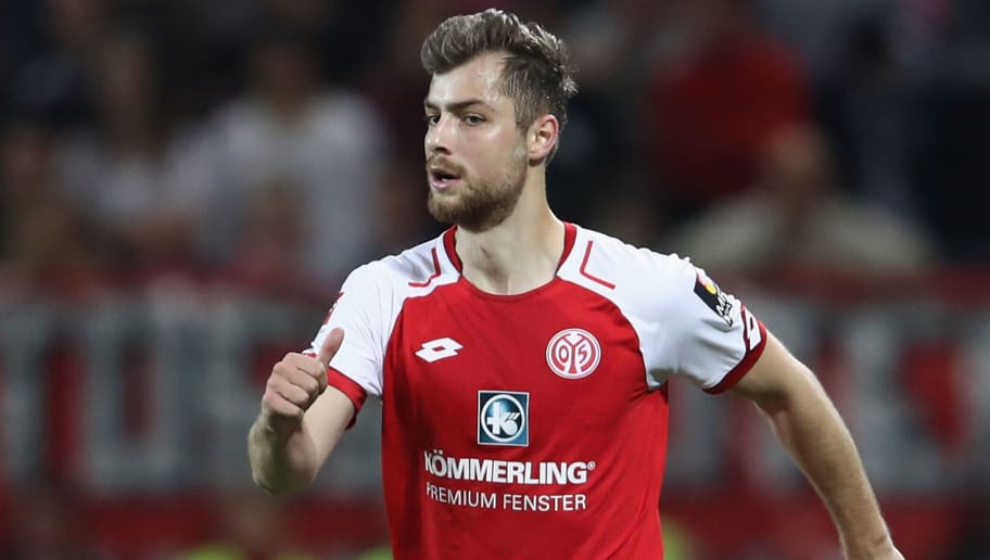MAINZ, GERMANY - APRIL 16: Alexander Hack of Mainz controls the ball  during the Bundesliga match between 1. FSV Mainz 05 and Sport-Club Freiburg at Opel Arena on April 16, 2018 in Mainz, Germany.  (Photo by Alex Grimm/Bongarts/Getty Images)