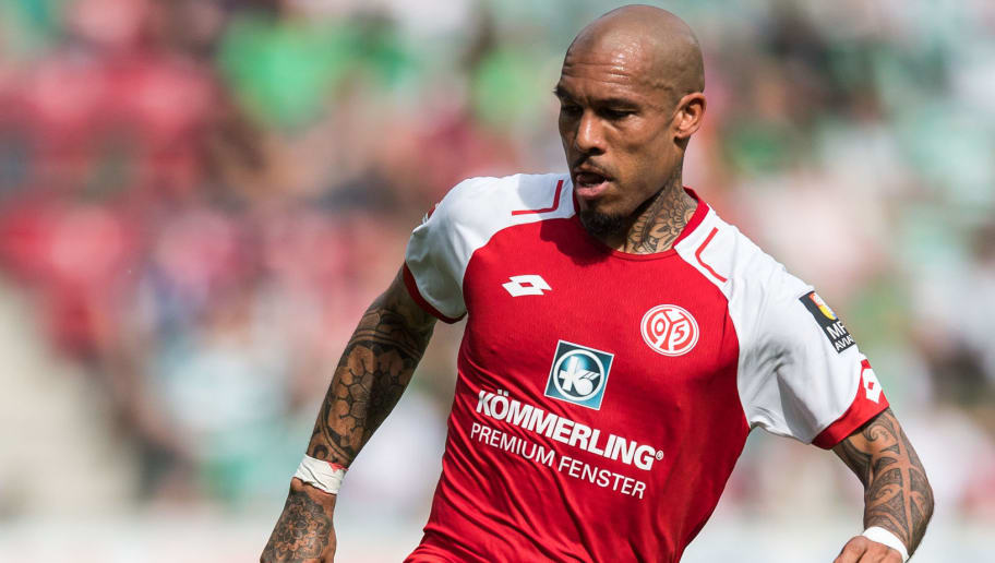 MAINZ, GERMANY - MAY 12: Nigel de Jong of Mainz in action during the Bundesliga match between 1. FSV Mainz 05 and SV Werder Bremen at Opel Arena on May 12, 2018 in Mainz, Germany. (Photo by Lukas Schulze/Bongarts/Getty Images)