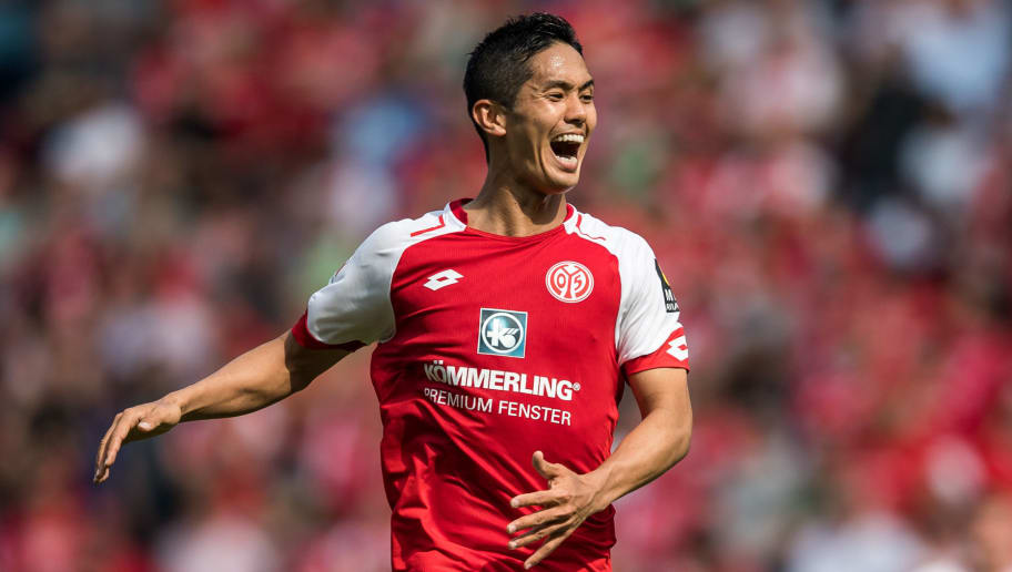 MAINZ, GERMANY - MAY 12: Yoshinori Muto of Mainz reacts during the Bundesliga match between 1. FSV Mainz 05 and SV Werder Bremen at Opel Arena on May 12, 2018 in Mainz, Germany. (Photo by Lukas Schulze/Bongarts/Getty Images)