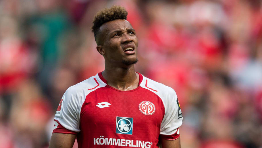 MAINZ, GERMANY - MAY 12: Jean-Philippe Gbamin of Mainz reacts during the Bundesliga match between 1. FSV Mainz 05 and SV Werder Bremen at Opel Arena on May 12, 2018 in Mainz, Germany. (Photo by Lukas Schulze/Bongarts/Getty Images)