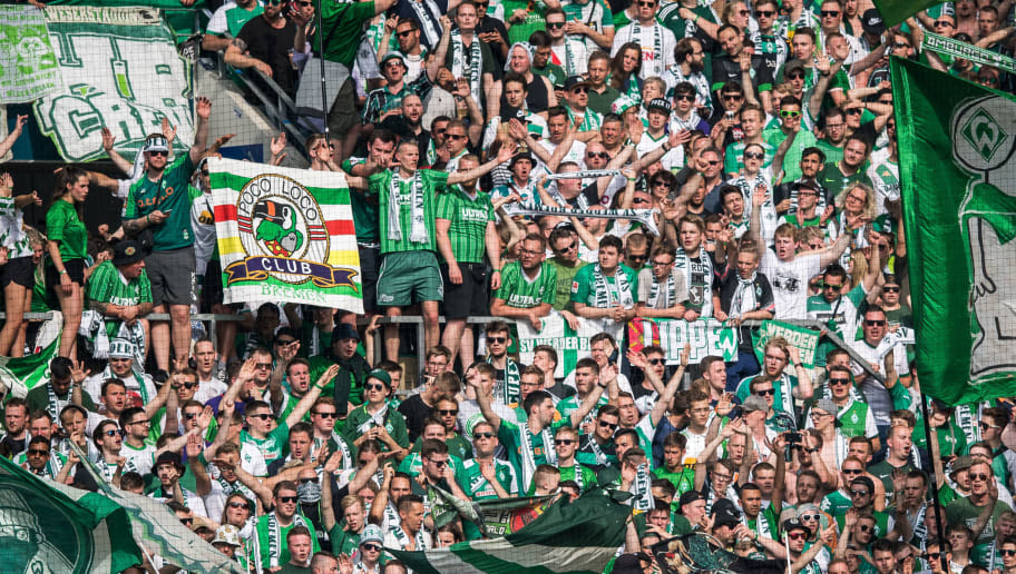 MAINZ, GERMANY - MAY 12: Fans of Bremen show a banner against Hamburger SV during the Bundesliga match between 1. FSV Mainz 05 and SV Werder Bremen at Opel Arena on May 12, 2018 in Mainz, Germany. (Photo by Lukas Schulze/Bongarts/Getty Images)