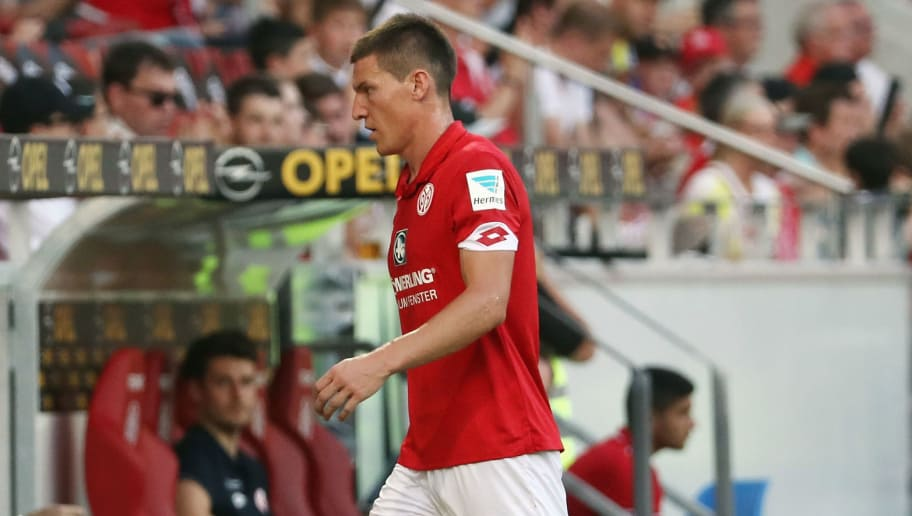 MAINZ, GERMANY - SEPTEMBER 11: Gaetan Bussmann of Mainz walks off the pitch after a red card during the Bundesliga match between 1. FSV Mainz 05 and TSG 1899 Hoffenheim at Opel Arena on September 11, 2016 in Mainz, Germany.  (Photo by Alex Grimm/Bongarts/Getty Images)