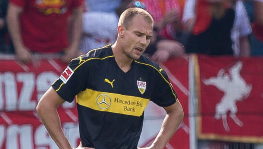MAINZ, GERMANY - AUGUST 26: Holger Badstuber of Stuttgart looks dejected during the Bundesliga match between 1. FSV Mainz 05 and VfB Stuttgart at Opel Arena on August 26, 2018 in Mainz, Germany. (Photo by TF-Images/Getty Images)