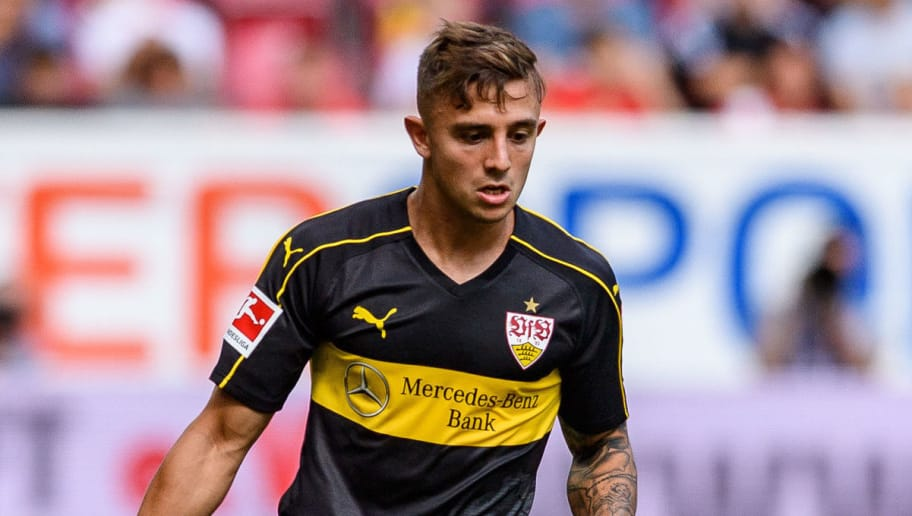 MAINZ, GERMANY - AUGUST 26: Pablo Maffeo of Stuttgart in action with the ball during the Bundesliga match between 1. FSV Mainz 05 and VfB Stuttgart at Opel Arena on August 26, 2018 in Mainz, Germany. (Photo by Alexander Scheuber/Bongarts/Getty Images)