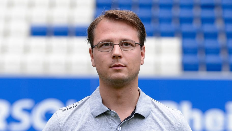 SINSHEIM, GERMANY - JULY 15:  Johannes Spors poses during the 1899 Hoffenheim team presentation at Wirsol Rhein-Neckar-Arena on July 15, 2014 in Sinsheim, Germany.  (Photo by Daniel Kopatsch/Bongarts/Getty Images)