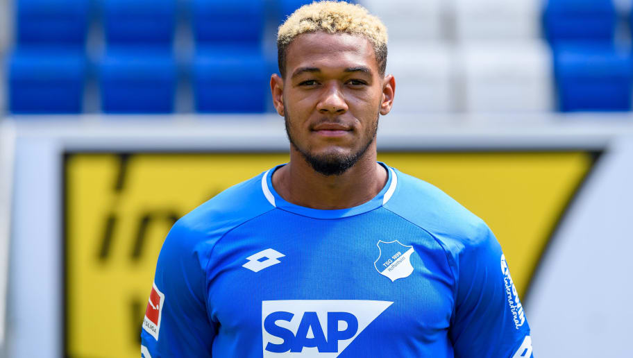 SINSHEIM, GERMANY - JULY 25: Joelinton of 1899 Hoffenheim poses during the team presentation at Wirsol Rhein-Neckar Arena on July 25, 2018 in Sinsheim, Germany. (Photo by Alexander Scheuber/Bongarts/Getty Images)