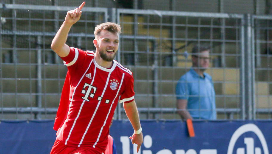 SINSHEIM, GERMANY - APRIL 21: Manuel Wintzheimer of Bayern celebrate during the A Juniors German Bundesliga match between TSG 1899 Hoffenheim and Bayern Muenchen at Dietmar-Hopp-Stadion on April 21, 2018 in Sinsheim, Germany. (Photo by Andreas Schlichter/Bongarts/Getty Images)