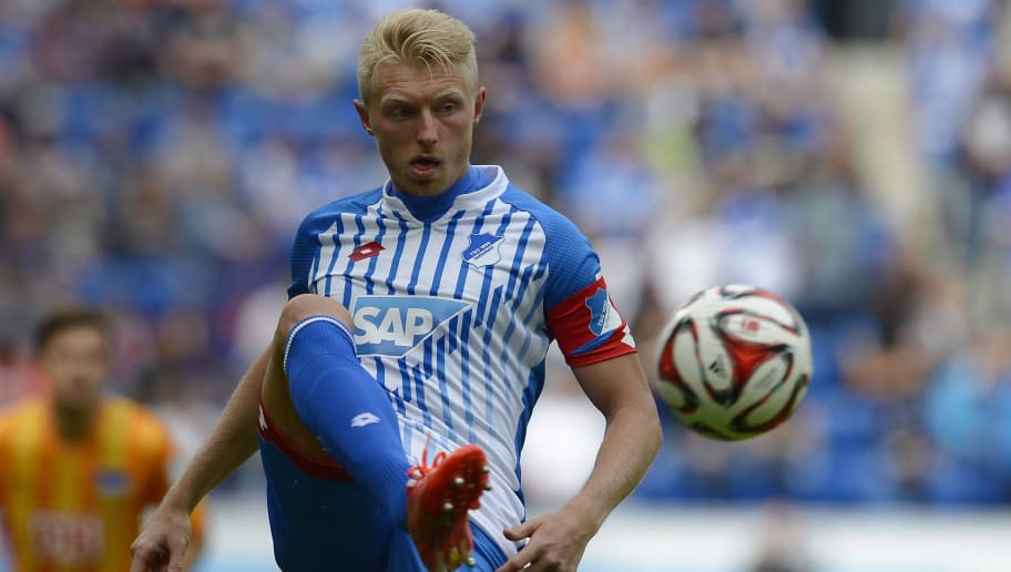 SINSHEIM, GERMANY - MAY 23:  Andreas Beck of Hoffenheim controls the ball during the Bundesliga match between 1899 Hoffenheim and Hertha BSC at Wirsol Rhein-Neckar-Arena on May 23, 2015 in Sinsheim, Germany.  (Photo by Daniel Kopatsch/Bongarts/Getty Images)