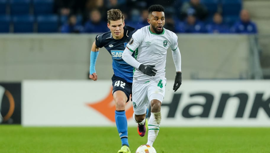 SINSHEIM, GERMANY - DECEMBER 07: Cicinho of Ludogorets controls the ball during the UEFA Europa League group C match between 1899 Hoffenheim and PFC Ludogorets Razgrad at Wirsol Rhein-Neckar-Arena on December 7, 2017 in Sinsheim, Germany. (Photo by TF-Images/TF-Images via Getty Images)
