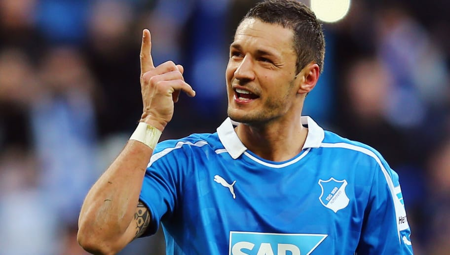 SINSHEIM, GERMANY - MARCH 02:  Sejad Salihovic of Hoffenheim celebrates his team's fifth goal during the Bundesliga match between 1899 Hoffenheim and VfL Wolfsburg at Wirsol Rhein-Neckar-Arena on March 2, 2014 in Sinsheim, Germany.  (Photo by Alex Grimm/Bongarts/Getty Images)