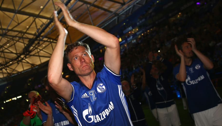 GELSENKIRCHEN, GERMANY - MAY 21: Ingo Anderbruegge of Eurofighter and Friends does a lap of honour after the 20 years of Eurofighter match between Eurofighter and Friends and Euro All Stars at Veltins Arena on May 21, 2017 in Gelsenkirchen, Germany.  (Photo by Christof Koepsel/Bongarts/Getty Images)