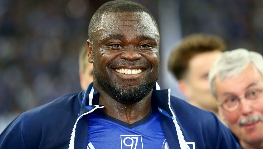 GELSENKIRCHEN, GERMANY - MAY 21: Gerald Asamoah of Eurofighter and Friends smiles after the 20 years of Eurofighter match between Eurofighter and Friends and Euro All Stars at Veltins Arena on May 21, 2017 in Gelsenkirchen, Germany.  (Photo by Christof Koepsel/Bongarts/Getty Images)