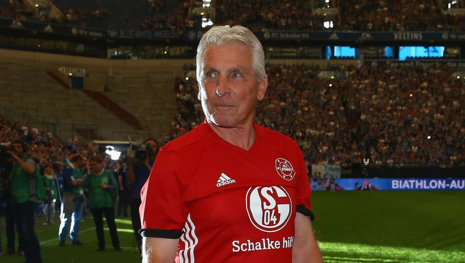 GELSENKIRCHEN, GERMANY - MAY 21: Klaus Fischer of Euro All Stars is seen prior to the 20 years of Eurofighter match between Eurofighter and Friends and Euro All Stars at Veltins Arena on May 21, 2017 in Gelsenkirchen, Germany.  (Photo by Christof Koepsel/Bongarts/Getty Images)