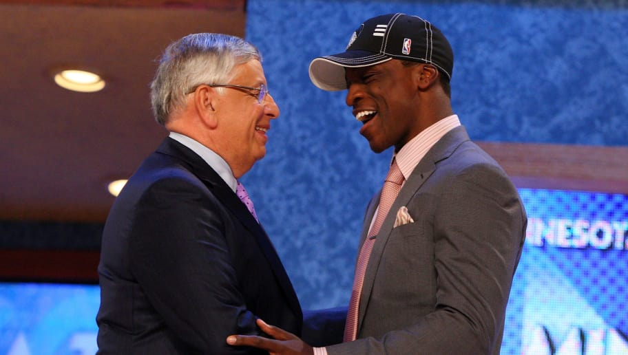 NEW YORK - JUNE 25:  NBA Commissioner David Stern poses for a photograph with the sixth overall draft pick by the Minnesota Timberwolves,  Jonny Flynn during the 2009 NBA Draft at the Wamu Theatre at Madison Square Garden June 25, 2009 in New York City. NOTE TO USER: User expressly acknowledges and agrees that, by downloading and/or using this Photograph, User is consenting to the terms and conditions of the Getty Images License Agreement.  (Photo by Jim McIsaac/Getty Images)
