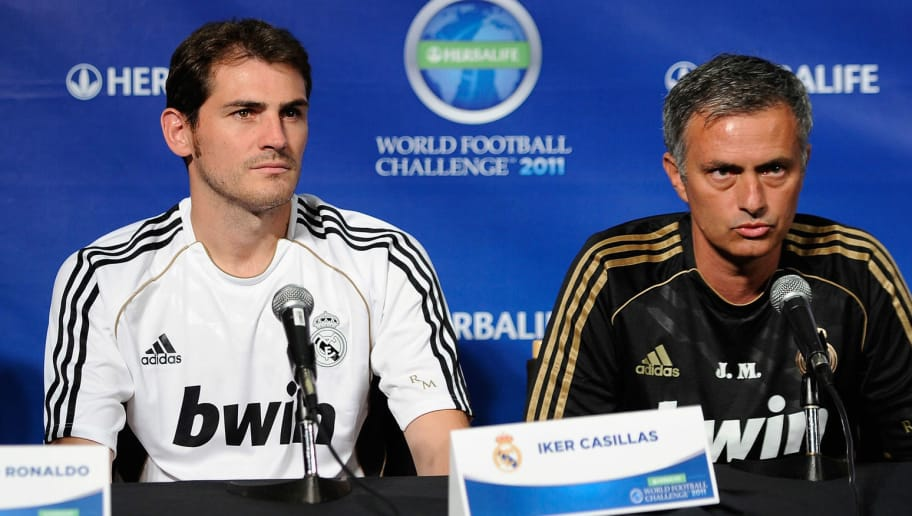 LOS ANGELES, CA - JULY 12:  Real Madrid coach Jose Mourinho (R) players Cristiano Ronaldo (L) and goalkeeper Iker Casillas during a news conference to announce the Herbalife World Football Challange 2011 friendly soccer tournament between 13 European and US soccer clubs on July 12, 2011 in Los Angeles, California. The Los Angeles Galaxy will play Real Madrid in a friendly soccer match on Saturday.  (Photo by Kevork Djansezian/Getty Images)
