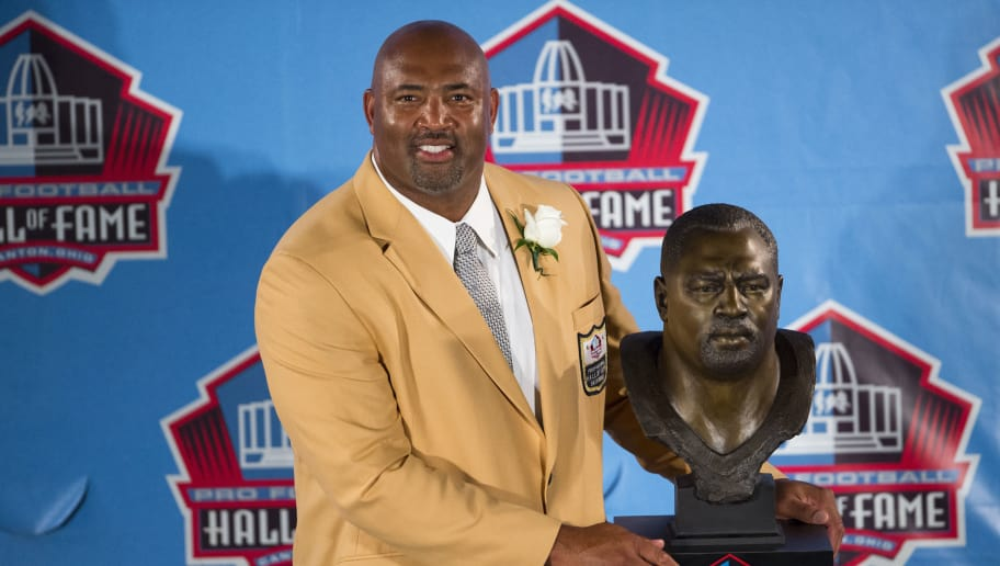 CANTON, OH - AUGUST 4: Former Pittsburgh Steelers center Dermontti Dawson with his bust during the Class of 2012 Pro Football Hall of Fame Enshrinement Ceremony at Fawcett Stadium on August 4, 2012 in Canton, Ohio. (Photo by Jason Miller/Getty Images)