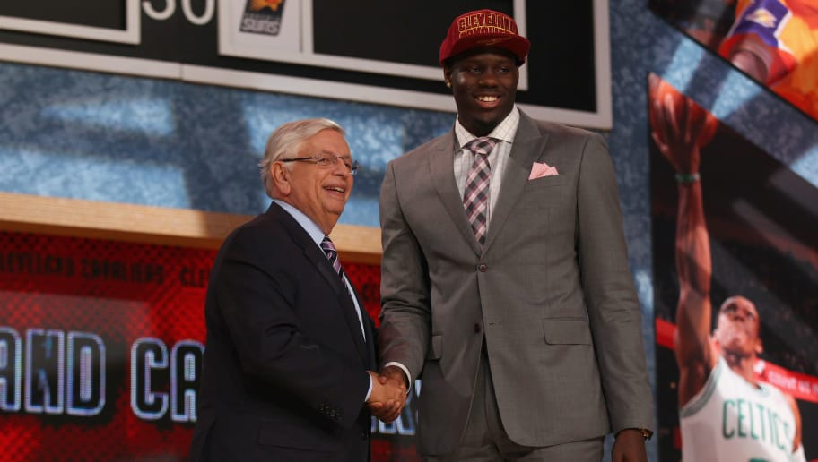 NEW YORK, NY - JUNE 27:  Anthony Bennett of UNLV poses for a photo with NBA Commissioner David Stern after Bennett was drafted #1 overall by the Cleveland Cavaliers during the 2013 NBA Draft at Barclays Center on June 27, 2013 in in the Brooklyn Bourough of New York City.  NOTE TO USER: User expressly acknowledges and agrees that, by downloading and/or using this Photograph, user is consenting to the terms and conditions of the Getty Images License Agreement.  (Photo by Mike Stobe/Getty Images)