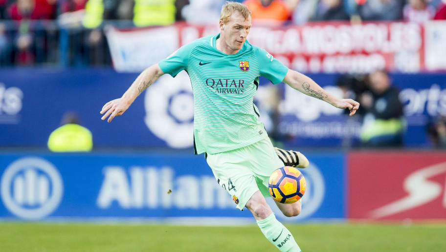 MADRID, SPAIN - FEBRUARY 26: Jeremy Mathieu of FC Barcelona in action during their La Liga match between Atletico de Madrid and FC Barcelona at the Santiago Bernabeu Stadium on 26 February 2017 in Madrid, Spain. (Photo by Power Sport Images/Getty Images)