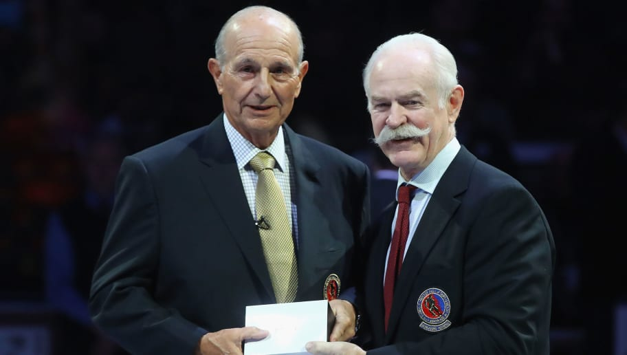 TORONTO, ON - NOVEMBER 12:  Jeremy Jacobs is honored for his induction into the Hall of Fame prior to the Legends Classic game at the Air Canada Centre on November 12, 2017 in Toronto, Canada.  (Photo by Bruce Bennett/Getty Images)