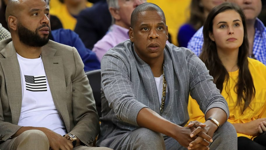 OAKLAND, CA - JUNE 01: Recording artist Jay-Z attends Game 1 of the 2017 NBA Finals between the Golden State Warriors and the Cleveland Cavaliers at ORACLE Arena on June 1, 2017 in Oakland, California. NOTE TO USER: User expressly acknowledges and agrees that, by downloading and or using this photograph, User is consenting to the terms and conditions of the Getty Images License Agreement. (Photo by Thearon W. Henderson/Getty Images)