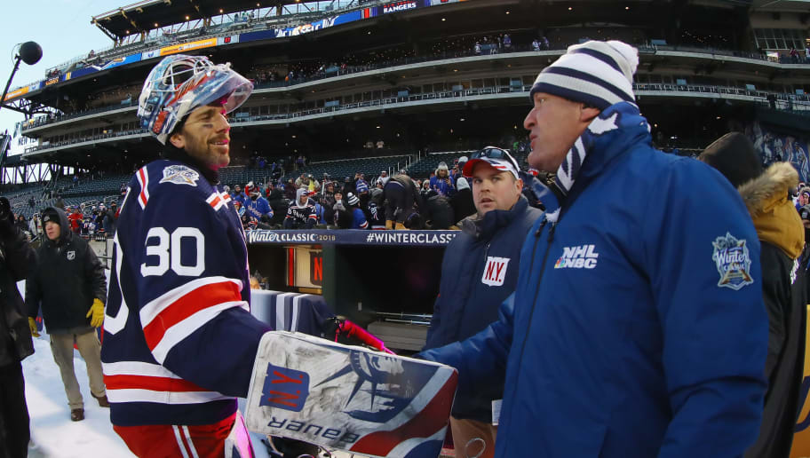 NEW YORK, NY - JANUARY 01: Henrik Lundqvist #30 of the New York Rangers chats with broadcaster Jeremy Roenick after the 2018 Bridgestone NHL Winter Classic at Citi Field on January 1, 2018 in Flushing neighborhood of the Queens borough of New York City, New York. The Rangers defeated the Sabres 3-2 in overtime.  (Photo by Bruce Bennett/Getty Images)
