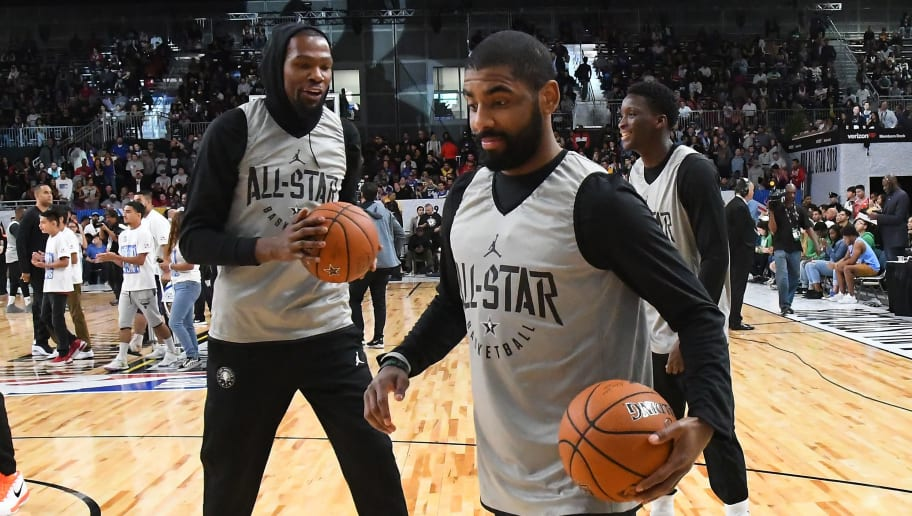 LOS ANGELES, CA - FEBRUARY 17:  Kyrie Irving #11 and Kevin Durant #25 of Team LaBron laugh during practice for the 2018 NBA All-Star game at the Verizon Up Arena at LACC on February 17, 2018 in Los Angeles, California. NOTE TO USER: User expressly acknowledges and agrees that, by downloading and or using this photograph, User is consenting to the terms and conditions of the Getty Images License Agreement.  (Photo by Jayne Kamin-Oncea/Getty Images)