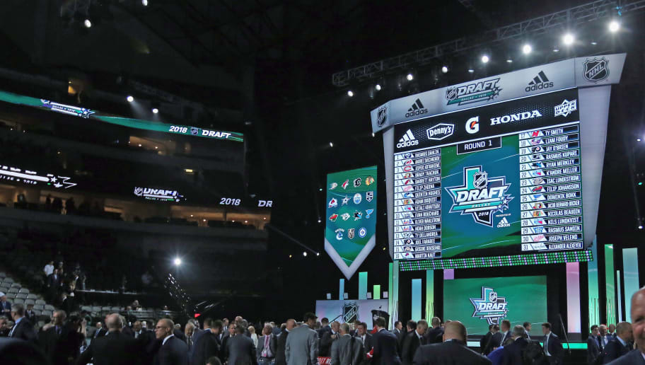 DALLAS, TX - JUNE 22:  A general view of the selection board during the first round of the 2018 NHL Draft at American Airlines Center on June 22, 2018 in Dallas, Texas.  (Photo by Bruce Bennett/Getty Images)