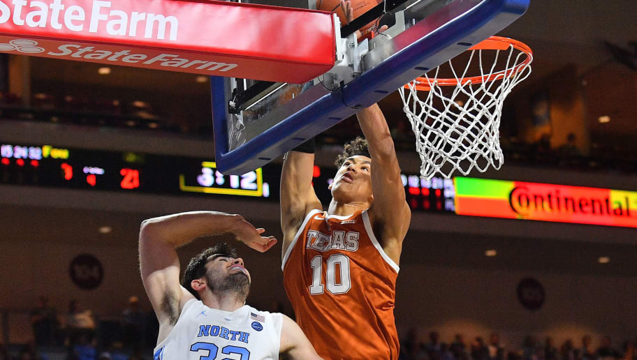 LAS VEGAS, NEVADA - NOVEMBER 22:  Jaxson Hayes #10 of the Texas Longhorns blocks a shot from Luke Maye #32 of the North Carolina Tar Heels during the 2018 Continental Tire Las Vegas Invitational basketball tournament at the Orleans Arena on November 22, 2018 in Las Vegas, Nevada.  (Photo by Sam Wasson/Getty Images)