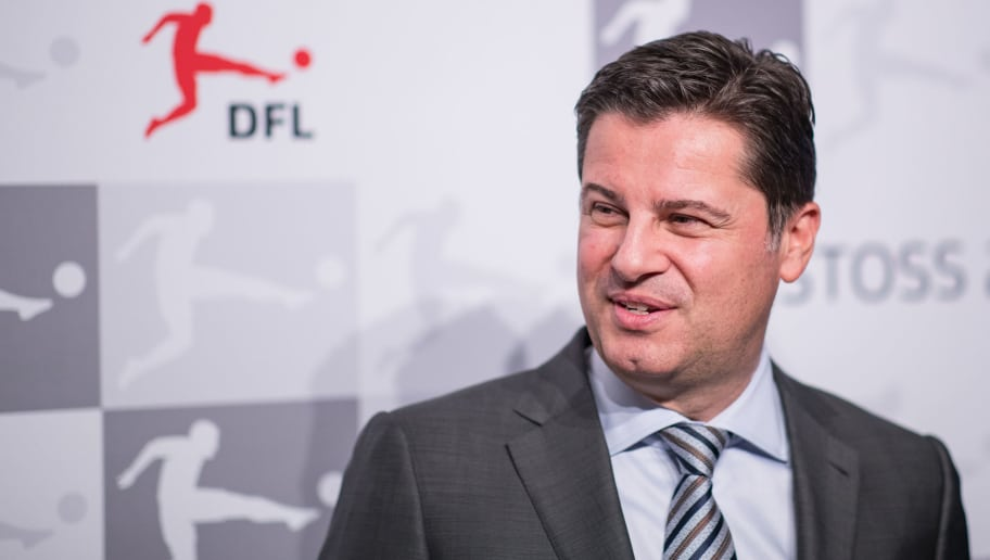 FRANKFURT AM MAIN, GERMANY - JANUARY 16: DFL CEO Christian Seifert looks on during the 2018 DFL New Year Reception at Thurn & Taxis Palais on January 16, 2018 in Frankfurt am Main, Germany. (Photo by Simon Hofmann/Bongarts/Getty Images)