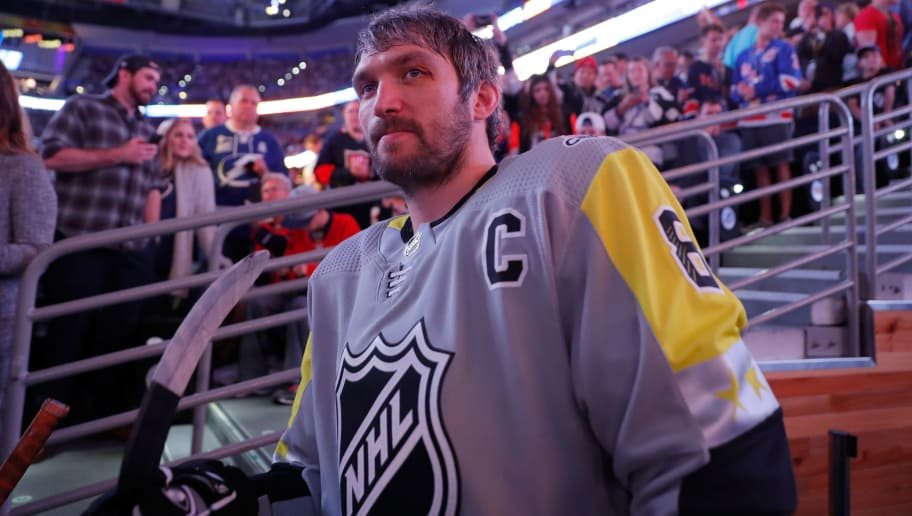 TAMPA, FL - JANUARY 28:  Alexander Ovechkin #8 of the Washington Capitals waits to be introduced during the 2018 Honda NHL All-Star Game at Amalie Arena on January 28, 2018 in Tampa, Florida.  (Photo by Mike Carlson/Getty Images)