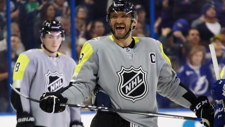 TAMPA, FL - JANUARY 28: Alexander Ovechkin #8 of the Washington Capitals takes part in the 2018 Honda NHL All-Star Game between the Atlantic Division and the Metropolitan Divison at Amalie Arena on January 28, 2018 in Tampa, Florida.  (Photo by Bruce Bennett/Getty Images)