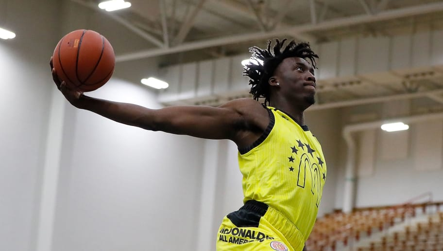 ATLANTA, GA - MARCH 26:  Nassir Little of Orlando Christian Prep attempts a dunk during the 2018 McDonald's All American Game POWERADE Jam Fest at Forbes Arena on March 26, 2018 in Atlanta, Georgia.  (Photo by Kevin C. Cox/Getty Images)