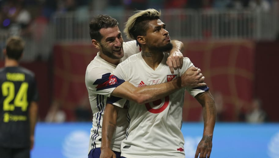 ATLANTA, GA - AUGUST 01: Josef Martinez of MLS All-Stars celebrates after scoring the equalizer during a match between Juventus and MLS All-Stars at Mercedes-Benz Stadium on August 1, 2018 in Atlanta, Georgia. (Photo by Omar Vega/Getty Images)