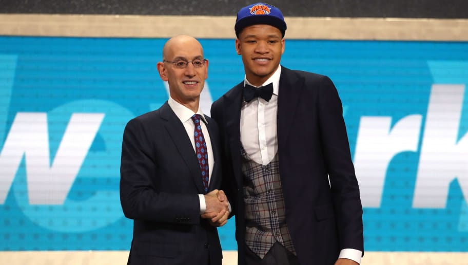 NEW YORK, NY - JUNE 21:  Kevin Knox poses with NBA Commissioner Adam Silver after being drafted ninth overall by the New York Knicks during the 2018 NBA Draft at the Barclays Center on June 21, 2018 in the Brooklyn borough of New York City. NOTE TO USER: User expressly acknowledges and agrees that, by downloading and or using this photograph, User is consenting to the terms and conditions of the Getty Images License Agreement.  (Photo by Mike Stobe/Getty Images)