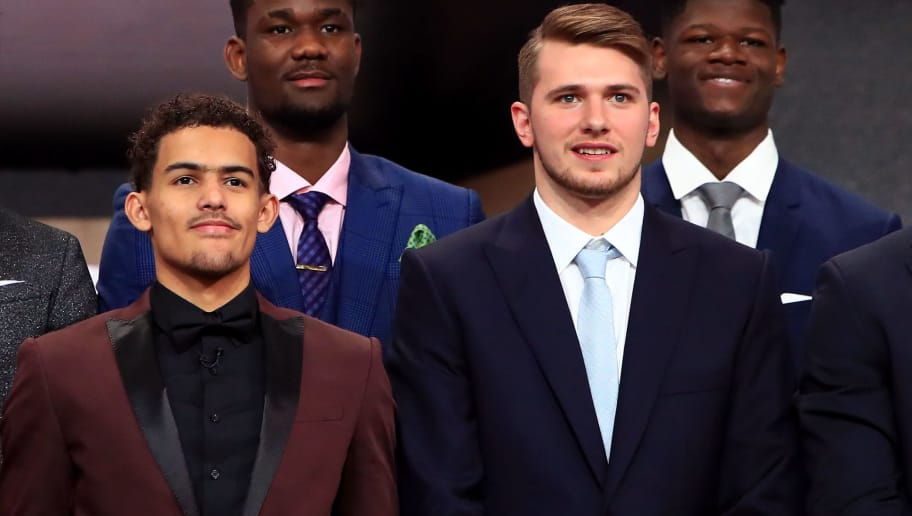 NEW YORK, NY - JUNE 21: Collin Sexton, Marvin Bagley III, Trae Young, Deandre Ayton, Luka Doncic and Mohamed Bamba pose for a photo before the 2018 NBA Draft at the Barclays Center on June 21, 2018 in the Brooklyn borough of New York City. NOTE TO USER: User expressly acknowledges and agrees that, by downloading and or using this photograph, User is consenting to the terms and conditions of the Getty Images License Agreement.  (Photo by Mike Lawrie/Getty Images)