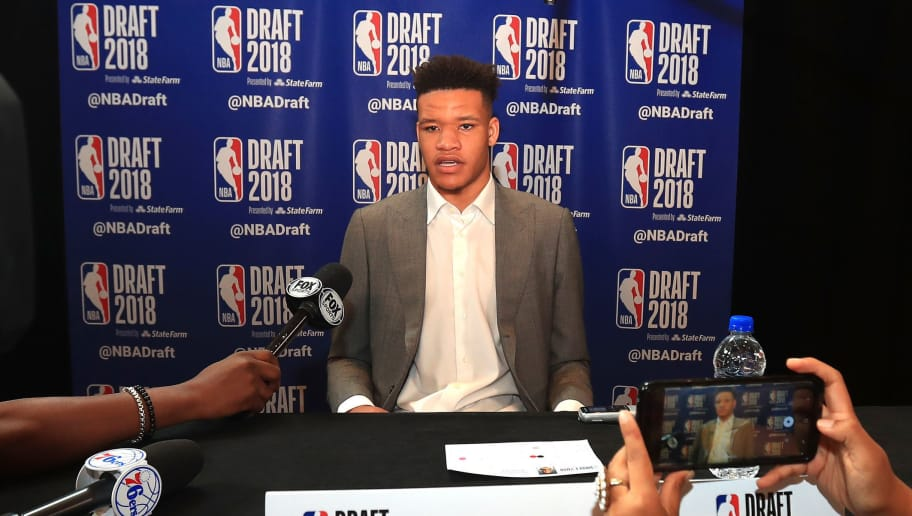 NEW YORK, NY - JUNE 20:  NBA Draft Prospect Kevin Knox speaks to the media before the 2018 NBA Draft at the Grand Hyatt New York Grand Central Terminal on June 20, 2018 in New York City. NOTE TO USER: User expressly acknowledges and agrees that, by downloading and or using this photograph, User is consenting to the terms and conditions of the Getty Images License Agreement.  (Photo by Mike Lawrie/Getty Images)