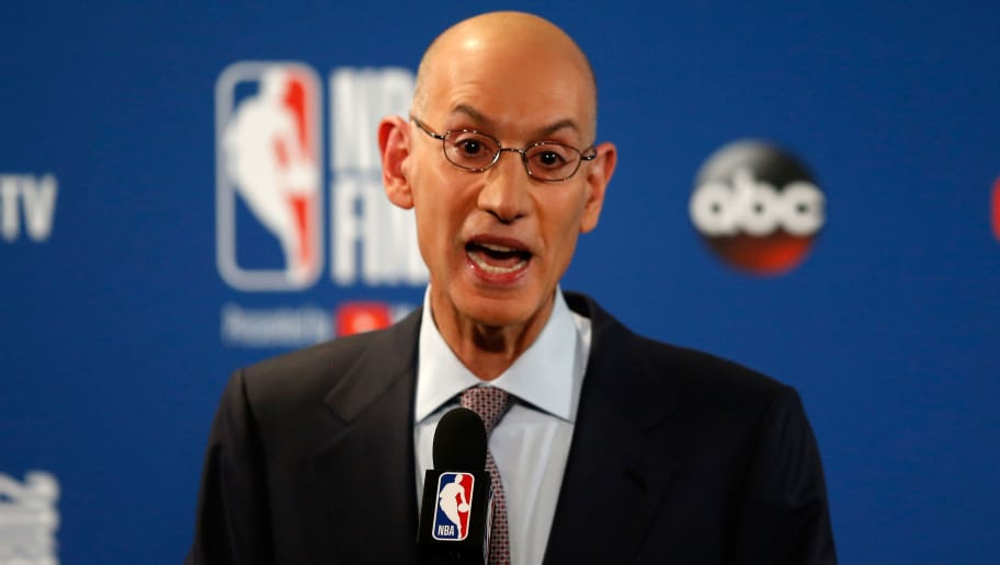 OAKLAND, CA - MAY 31:  Commissioner Adam Silver of the NBA addresses the media before Game 1 of the 2018 NBA Finals at ORACLE Arena on May 31, 2018 in Oakland, California. NOTE TO USER: User expressly acknowledges and agrees that, by downloading and or using this photograph, User is consenting to the terms and conditions of the Getty Images License Agreement.  (Photo by Lachlan Cunningham/Getty Images)