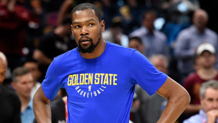 CLEVELAND, OH - JUNE 08:  Kevin Durant #35 of the Golden State Warriors warms up before Game Four of the 2018 NBA Finals against the Cleveland Cavaliers at Quicken Loans Arena on June 8, 2018 in Cleveland, Ohio. NOTE TO USER: User expressly acknowledges and agrees that, by downloading and or using this photograph, User is consenting to the terms and conditions of the Getty Images License Agreement.  (Photo by Jason Miller/Getty Images)
