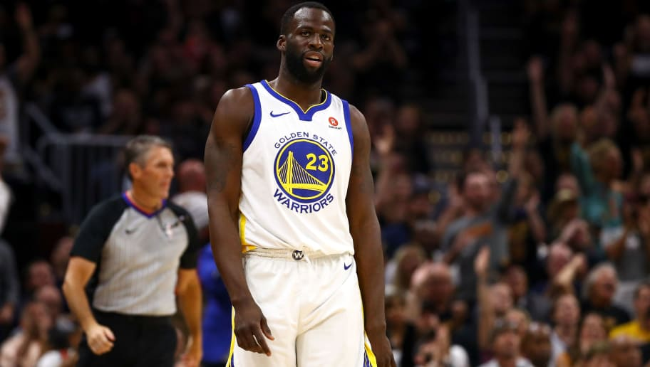 CLEVELAND, OH - JUNE 08:  Draymond Green #23 of the Golden State Warriors reacts against the Cleveland Cavaliers during Game Four of the 2018 NBA Finals at Quicken Loans Arena on June 8, 2018 in Cleveland, Ohio. NOTE TO USER: User expressly acknowledges and agrees that, by downloading and or using this photograph, User is consenting to the terms and conditions of the Getty Images License Agreement.  (Photo by Gregory Shamus/Getty Images)