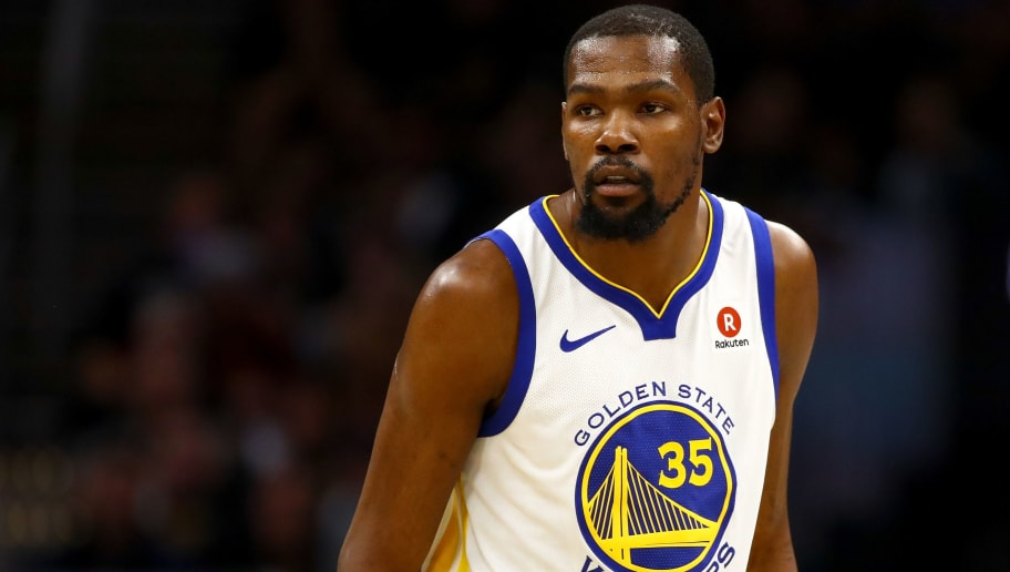 CLEVELAND, OH - JUNE 08:  Kevin Durant #35 of the Golden State Warriors reacts against the Cleveland Cavaliers during Game Four of the 2018 NBA Finals at Quicken Loans Arena on June 8, 2018 in Cleveland, Ohio. NOTE TO USER: User expressly acknowledges and agrees that, by downloading and or using this photograph, User is consenting to the terms and conditions of the Getty Images License Agreement.  (Photo by Gregory Shamus/Getty Images)