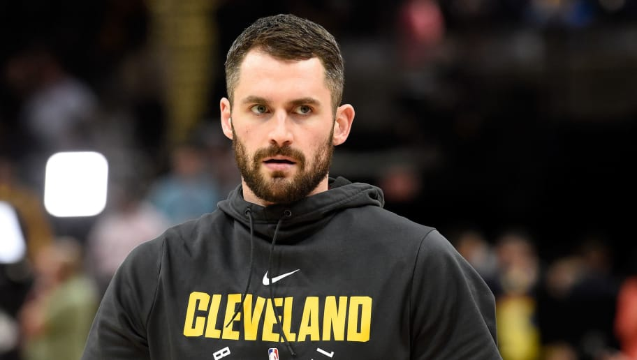 CLEVELAND, OH - JUNE 08:  Kevin Love #0 of the Cleveland Cavaliers warms up before Game Four of the 2018 NBA Finals against the Golden State Warriors at Quicken Loans Arena on June 8, 2018 in Cleveland, Ohio. NOTE TO USER: User expressly acknowledges and agrees that, by downloading and or using this photograph, User is consenting to the terms and conditions of the Getty Images License Agreement.  (Photo by Jason Miller/Getty Images)