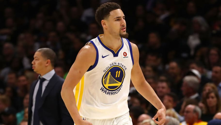 CLEVELAND, OH - JUNE 08: Klay Thompson #11 of the Golden State Warriors reacts in the second half against the Cleveland Cavaliers during Game Four of the 2018 NBA Finals at Quicken Loans Arena on June 8, 2018 in Cleveland, Ohio. NOTE TO USER: User expressly acknowledges and agrees that, by downloading and or using this photograph, User is consenting to the terms and conditions of the Getty Images License Agreement.  (Photo by Gregory Shamus/Getty Images)