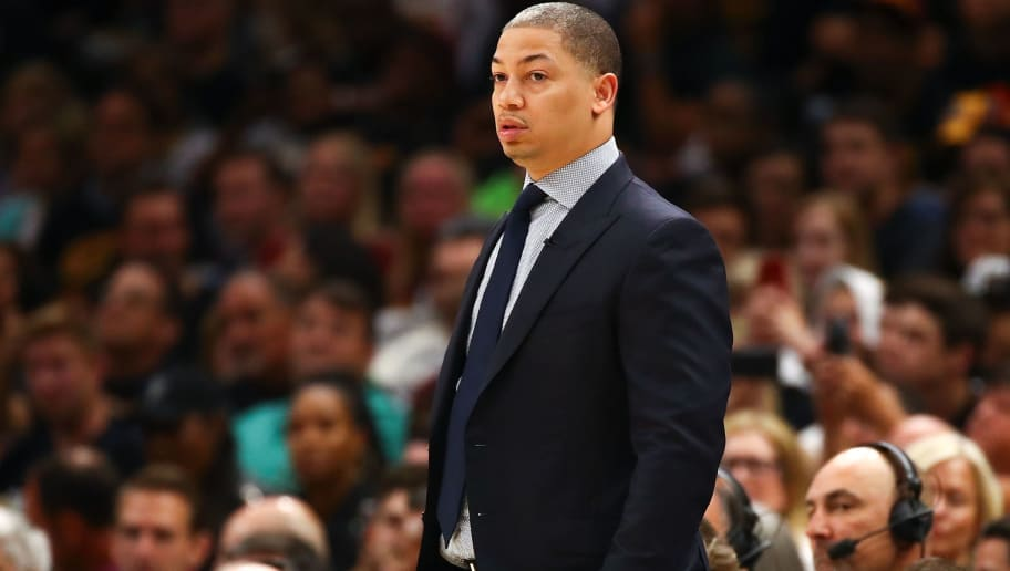 CLEVELAND, OH - JUNE 08:  Head coach Tyronn Lue of the Cleveland Cavaliers looks on against the Golden State Warriors in the first half during Game Four of the 2018 NBA Finals at Quicken Loans Arena on June 8, 2018 in Cleveland, Ohio. NOTE TO USER: User expressly acknowledges and agrees that, by downloading and or using this photograph, User is consenting to the terms and conditions of the Getty Images License Agreement.  (Photo by Gregory Shamus/Getty Images)