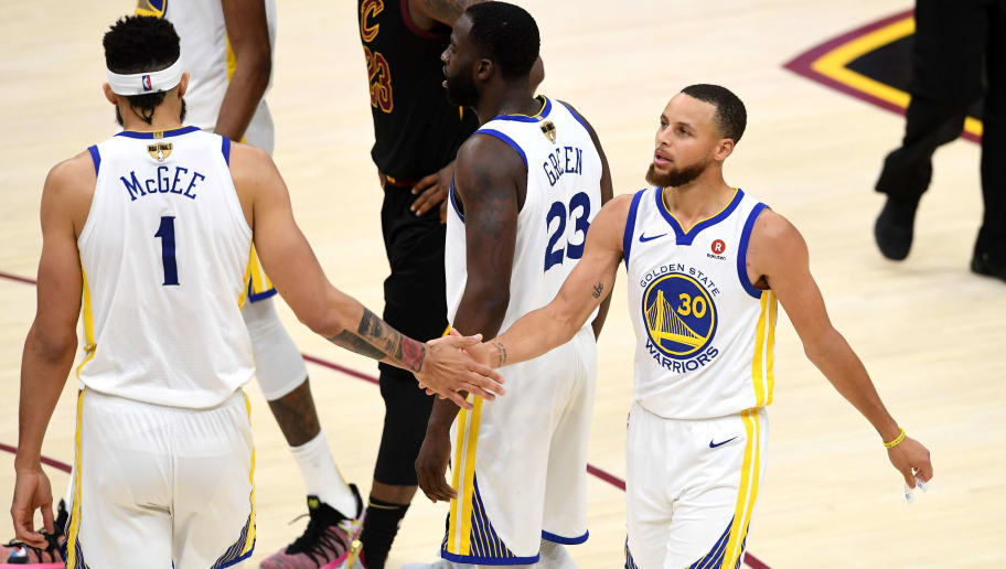CLEVELAND, OH - JUNE 06:  Stephen Curry #30 of the Golden State Warriors celebrates with JaVale McGee #1 against the Cleveland Cavaliers in the second half during Game Three of the 2018 NBA Finals at Quicken Loans Arena on June 6, 2018 in Cleveland, Ohio. NOTE TO USER: User expressly acknowledges and agrees that, by downloading and or using this photograph, User is consenting to the terms and conditions of the Getty Images License Agreement.  (Photo by Jason Miller/Getty Images)
