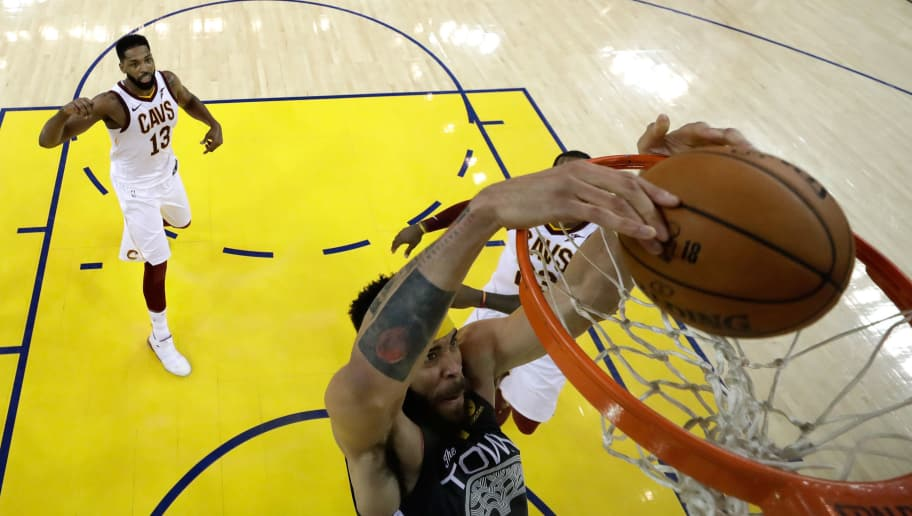 OAKLAND, CA - JUNE 03:  JaVale McGee #1 of the Golden State Warriors dunks against the Cleveland Cavaliers in Game 2 of the 2018 NBA Finals at ORACLE Arena on June 3, 2018 in Oakland, California. NOTE TO USER: User expressly acknowledges and agrees that, by downloading and or using this photograph, User is consenting to the terms and conditions of the Getty Images License Agreement.  (Photo by Pool/Getty Images)
