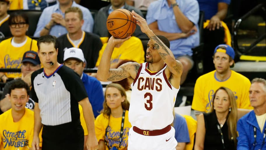 OAKLAND, CA - JUNE 03:  George Hill #3 of the Cleveland Cavaliers shoots against the Golden State Warriors in Game 2 of the 2018 NBA Finals at ORACLE Arena on June 3, 2018 in Oakland, California. NOTE TO USER: User expressly acknowledges and agrees that, by downloading and or using this photograph, User is consenting to the terms and conditions of the Getty Images License Agreement.  (Photo by Lachlan Cunningham/Getty Images)
