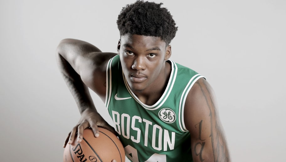 TARRYTOWN, NY - AUGUST 12:  (EDITOR'S NOTE: SATURATION WAS REMOVED FROM THIS IMAGE) Robert Williams #44 of the Boston Celtics poses for a portrait during the 2018 NBA Rookie Photo Shoot at MSG Training Center on August 12, 2018 in Tarrytown, New York.  NOTE TO USER: User expressly acknowledges and agrees that, by downloading and or using this photograph, User is consenting to the terms and conditions of the Getty Images License Agreement. (Photo by Elsa/Getty Images)