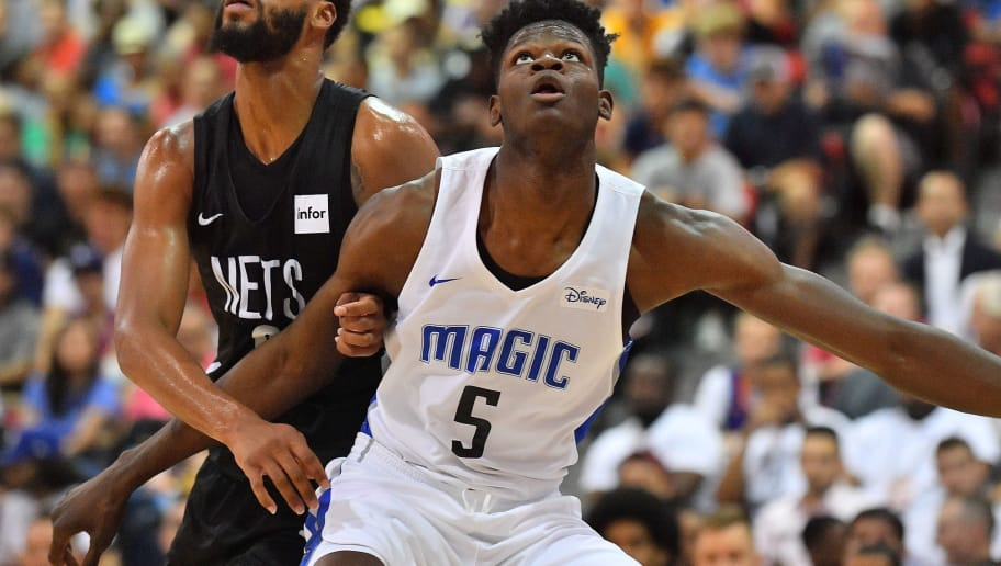 LAS VEGAS, NV - JULY 06:  James Webb III #0 of the Brooklyn Nets and Mohamed Bamba #5 of the Orlando Magic battle for rebounding position during the 2018 NBA Summer League at the Cox Pavilion on July 6, 2018 in Las Vegas, Nevada. The Magic defeated the Nets 84-80. NOTE TO USER: User expressly acknowledges and agrees that, by downloading and or using this photograph, User is consenting to the terms and conditions of the Getty Images License Agreement. (Photo by Sam Wasson/Getty Images)