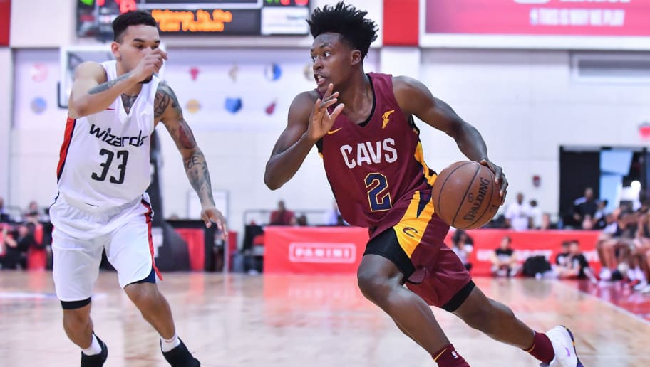 LAS VEGAS, NV - JULY 06:  Collin Sexton #2 of the Cleveland Cavaliers dribbles against Chris Chiozza #33 of the Washington Wizards during the 2018 NBA Summer League at the Cox Pavilion on July 6, 2018 in Las Vegas, Nevada. The Cavaliers defeated the Wizards 72-59. NOTE TO USER: User expressly acknowledges and agrees that, by downloading and or using this photograph, User is consenting to the terms and conditions of the Getty Images License Agreement.  (Photo by Sam Wasson/Getty Images)
