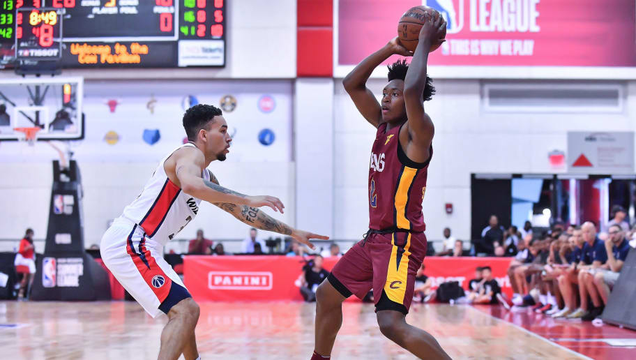 LAS VEGAS, NV - JULY 06:  Collin Sexton #2 of the Cleveland Cavaliers looks to pass against Chris Chiozza #33 of the Washington Wizards during the 2018 NBA Summer League at the Cox Pavilion on July 6, 2018 in Las Vegas, Nevada. The Cavaliers defeated the Wizards 72-59. NOTE TO USER: User expressly acknowledges and agrees that, by downloading and or using this photograph, User is consenting to the terms and conditions of the Getty Images License Agreement.  (Photo by Sam Wasson/Getty Images)